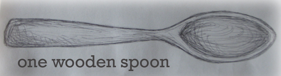 one wooden spoon