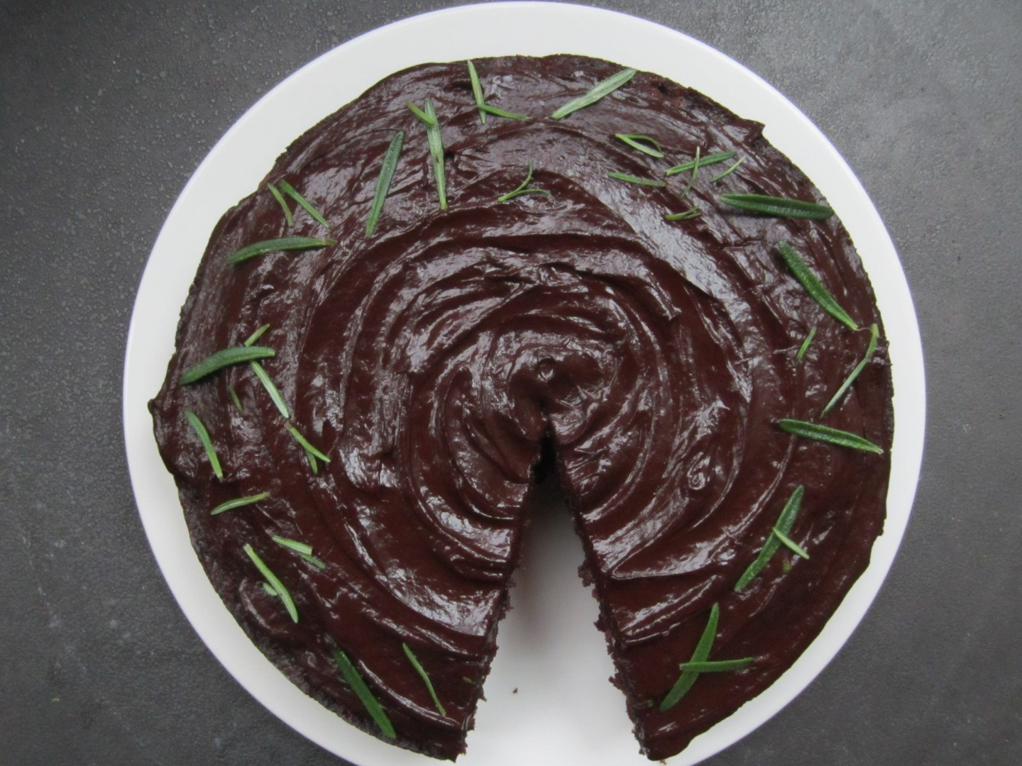 Dark Chocolate, Pear and Rosemary Cake