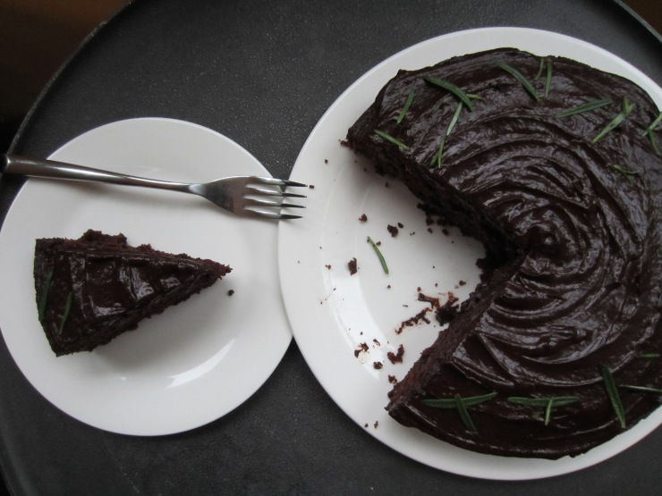Dark Chocolate, Pear and Rosemary Cake | One Wooden Spoon